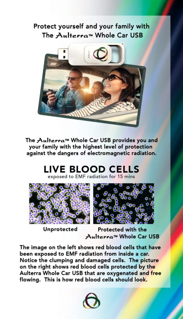 picture of family in car with usb and red blood cells