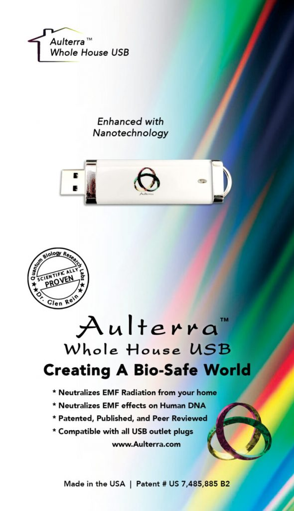 Aulterra package with usb at top of page and rainbow colors