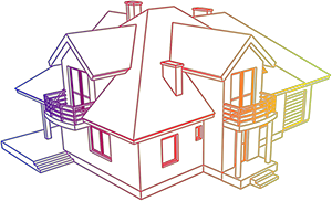 illustration of a house in multiple colors