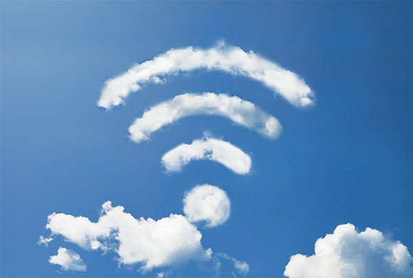 clouds with wireless symbol